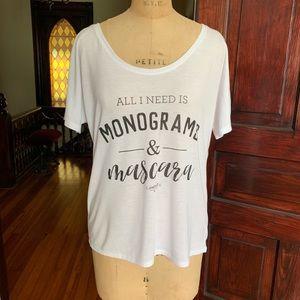 Monograms & Mascara T-shirt Small NWOT